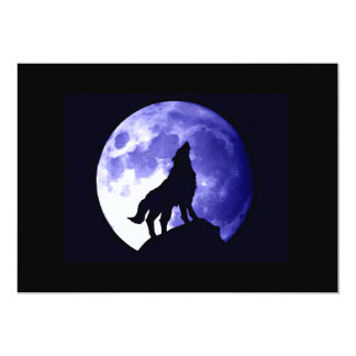 Wolf Howling at Moon Invitation