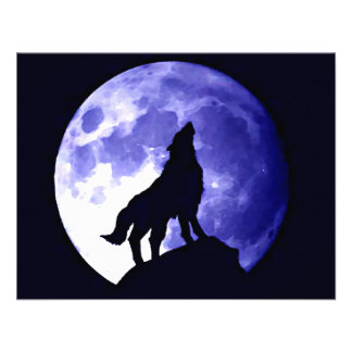 Wolf Howling at Moon Invites