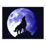 Wolf Howling at Moon 4.25x5.5 Paper Invitation Card