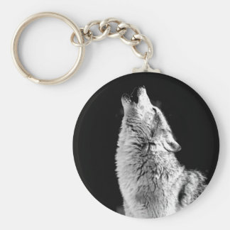Wolf Howling at Moon Keychain