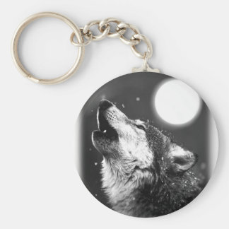 Wolf Howling at Moon Key Chains