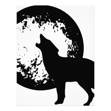 Beach Themed Wolf Howling at Moon Letterhead