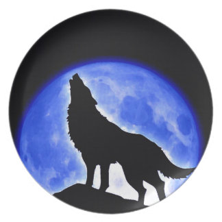Wolf Howling at Moon Melamine Plate