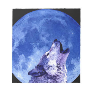 Wolf Howling at Moon Memo Notepads
