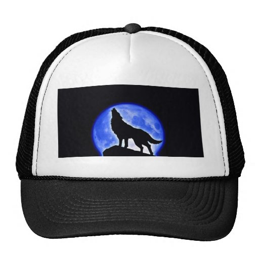 Wolf Howling at Moon Mesh Hat