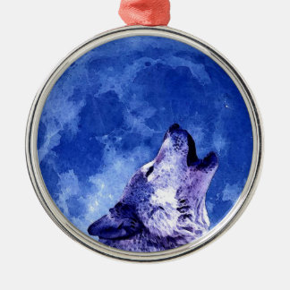 Wolf Howling at Moon Metal Ornament