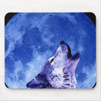 Wolf Howling at Moon Mouse Pad