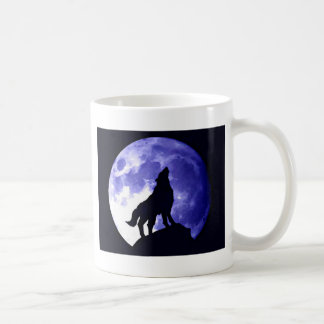 Wolf Howling at Moon Classic White Coffee Mug