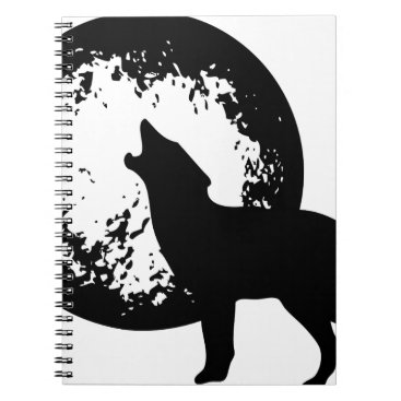 Beach Themed Wolf Howling at Moon Notebook