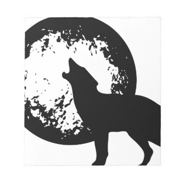 Beach Themed Wolf Howling at Moon Notepad