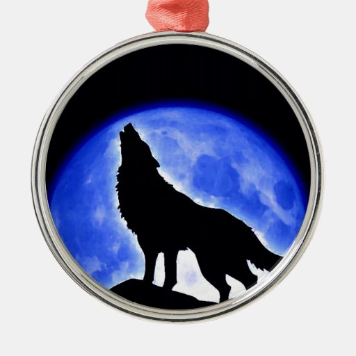 Wolf Howling at Moon Round Metal Christmas Ornament