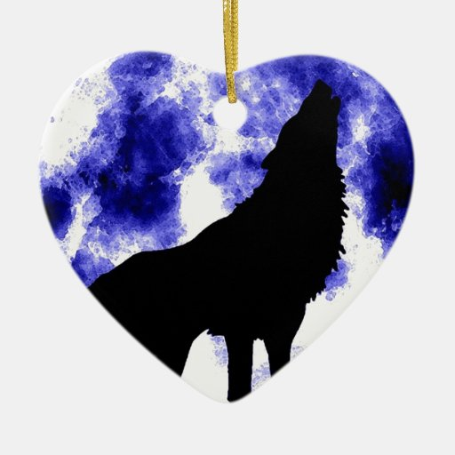 Wolf Howling at Moon Ornaments