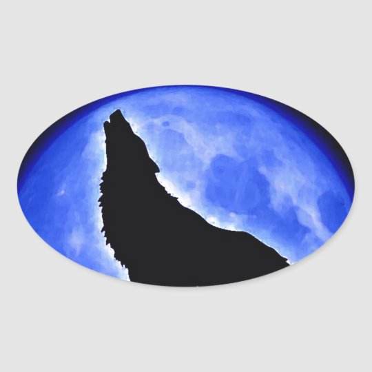 Wolf Howling at Moon Oval Sticker
