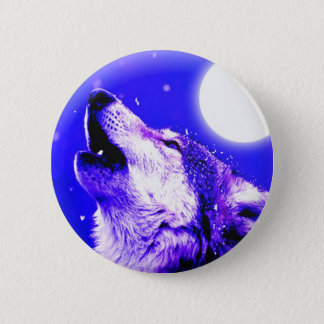 Wolf Howling at Moon Pinback Button