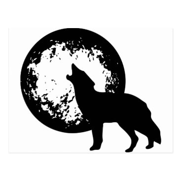 Beach Themed Wolf Howling at Moon Postcard