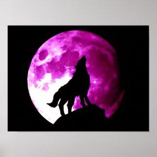 Wolf Howling at Moon Poster Print print