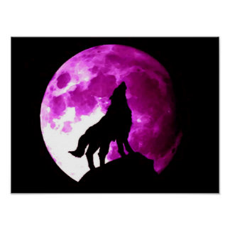 Wolf Howling at Moon Poster Print