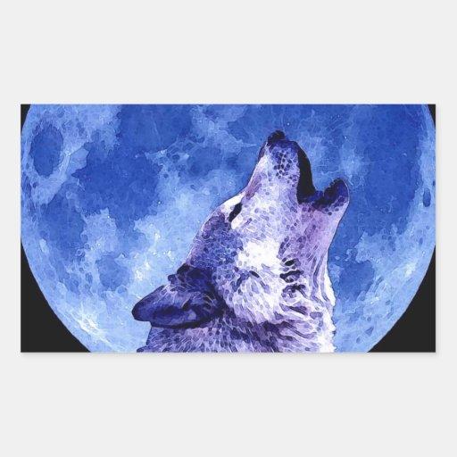 Wolf Howling at Moon Rectangular Sticker