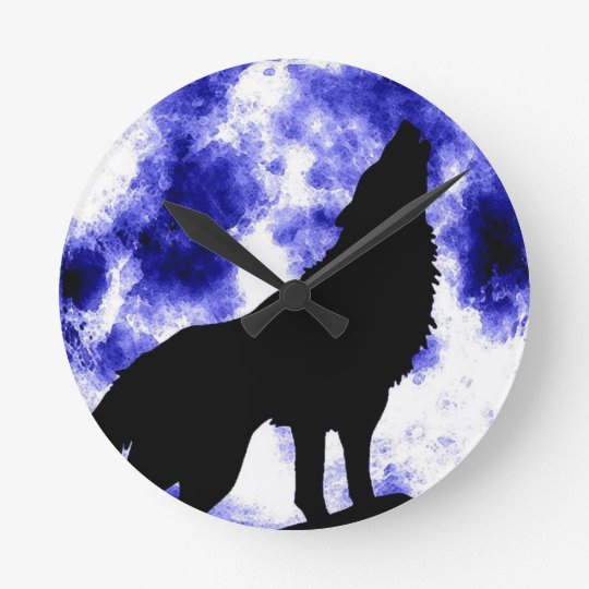 Wolf Howling at Moon Round Clock