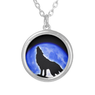 Wolf Howling at Moon Round Pendant Necklace
