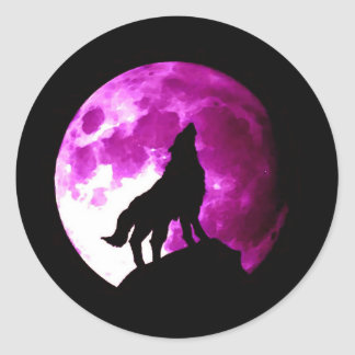 Wolf Howling at Moon Round Stickers