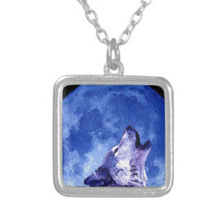 Wolf Howling at Moon Silver Plated Necklace