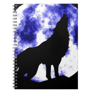 Wolf Howling at Moon Spiral Notebook