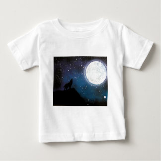 Wolf Howling at Moon Spray Paint Art Painting Baby T-Shirt