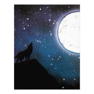 Wolf Howling at Moon Spray Paint Art Painting Letterhead