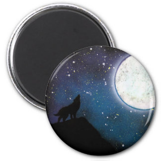Wolf Howling at Moon Spray Paint Art Painting Magnet