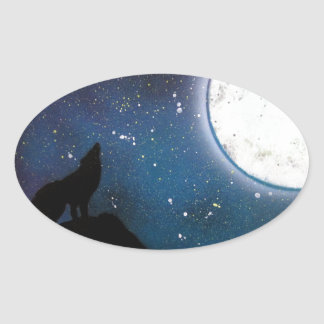Wolf Howling at Moon Spray Paint Art Painting Oval Sticker