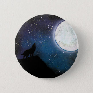 Wolf Howling at Moon Spray Paint Art Painting Pinback Button