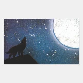 Wolf Howling at Moon Spray Paint Art Painting Rectangular Sticker