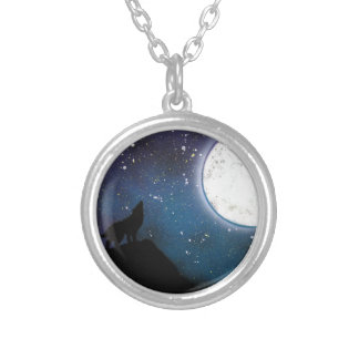 Wolf Howling at Moon Spray Paint Art Painting Silver Plated Necklace