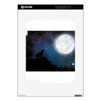 Wolf Howling at Moon Spray Paint Art Painting Skin For The iPad 2