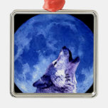 Wolf Howling at Moon Square Metal Christmas Ornament
