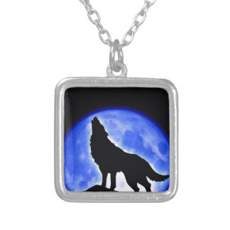 Wolf Howling at Moon Square Pendant Necklace