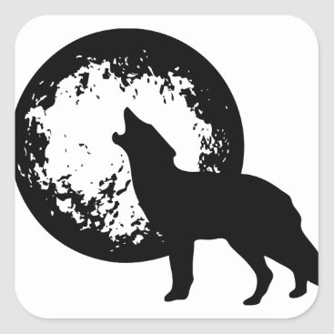 Beach Themed Wolf Howling at Moon Square Sticker