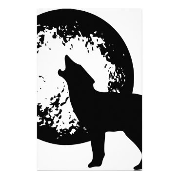 Beach Themed Wolf Howling at Moon Stationery