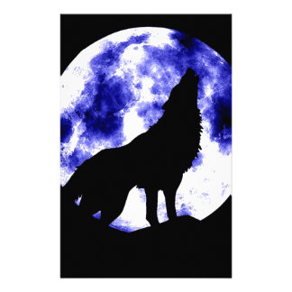 Wolf Howling at Moon Stationery