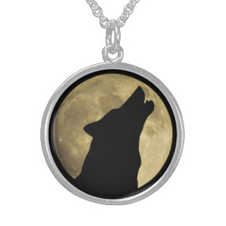 Wolf Howling at Moon Sterling Necklace