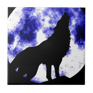 Wolf Howling at Moon Ceramic Tile