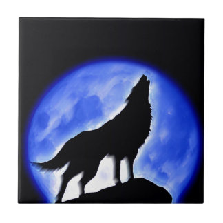 Wolf Howling at Moon Tiles