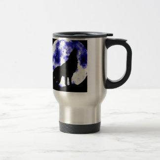 Wolf Howling at Moon Travel Mug
