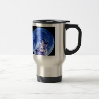 Wolf Howling at Moon Travel Mugs