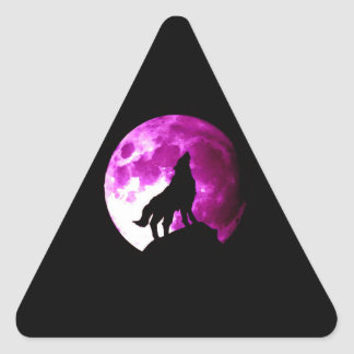 Wolf Howling at Moon Triangle Sticker