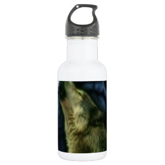 Wolf Howling At Moon Water Bottle