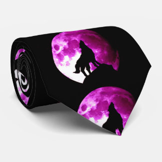 Wolf Howling at Night Moon Tie