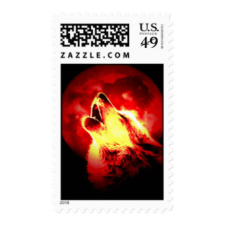 Wolf Howling at Red Moon Postage