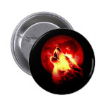 Wolf Howling at Red Night 2 Inch Round Button